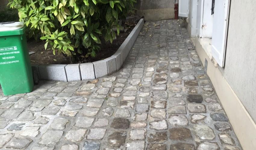 Réfection des pavés d'une cour d'immeuble