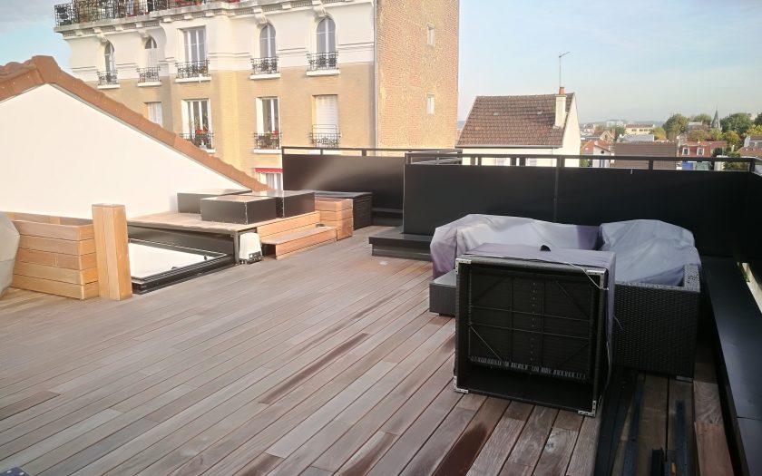Terrasse toiture lames composite