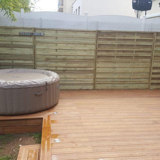Réalisation d'une terrasse en bois coloris ipé